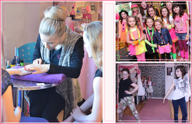 kids pamper party having nails painted